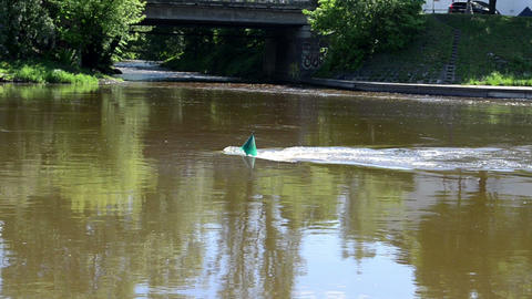 zoom out green buoy flow river neris center vilnius city Footage