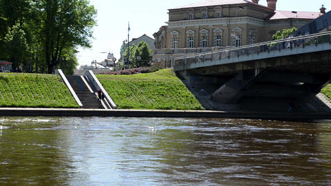 Mindaugas Bridge River Neris Vilnius City People Walk stock footage