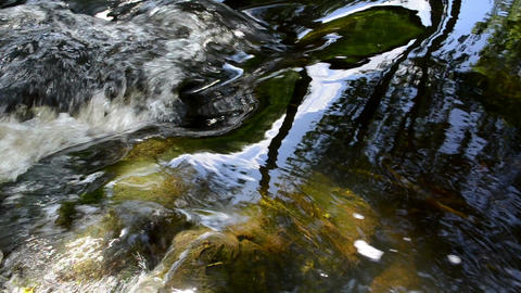 stream water flow with stones underwater and reflections Footage