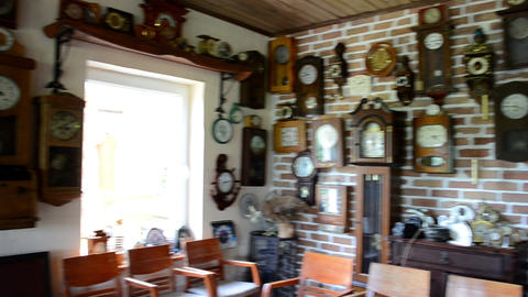vintage different clock collection set museum exhibition room Footage
