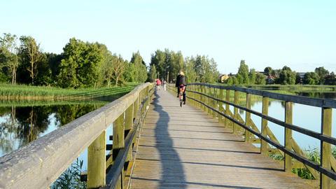People Walk Go Bicycle Wooden Lake Bridge. Woman Enjoy View stock footage
