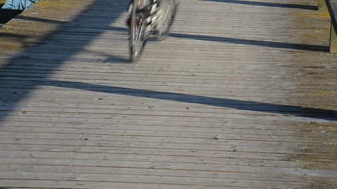 Couple Cyclist Male Female Riding Bicycle Wooden Lake Bridge stock footage