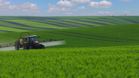 Agricultural Tractor on the Vast Fields of South Moravia Footage