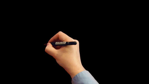Hand Writes And Erases With Alpha Channel stock footage