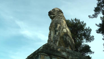 Ancient Greek Lion Statue Amphipolis (2) stock footage