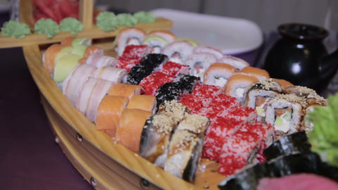 Variety Of Japanese Sushi Rolls stock footage