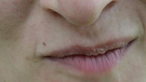 macro woman face lips mouth eat ecologic blackberry smile Footage