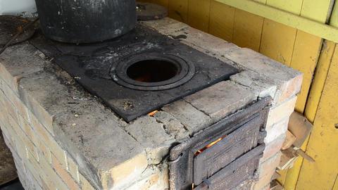vintage kitchen stove firewood burn big pot Footage