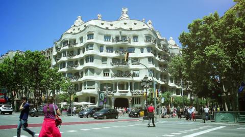 BARCELONA, SPAIN - JUN 01: Casa Mila, designed by Antoni Gaudi, on June 31, 2015 Footage