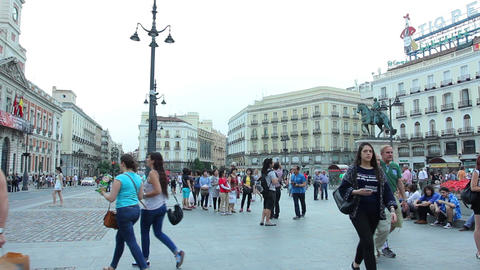 MADRID, SPAIN - 15 MAY. The Puerta del Sol, Madrid, one of the famous landmarks  Footage