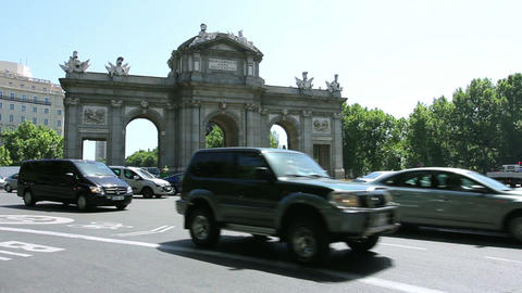 MADRID, SPAIN - 15 MAY. The Puerta de Alcala (Alcala Gate) in Madrid, Spain Footage