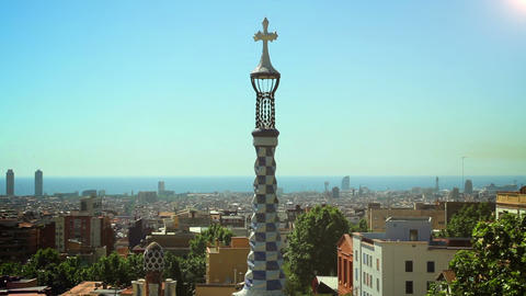 BARCELONA, SPAIN - 20 MAY, 2015: The Park Guell aka Parc Guell is a public park  Footage