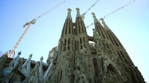 Sagrada Familia in Barcelona, Spain Footage