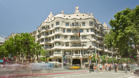 BARCELONA, SPAIN - MAY 15 Architecture detail of Casa Mila, better known as La P Footage