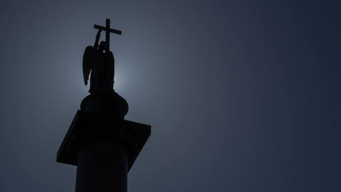 Alexander Column In Saint Petersburg Sun Silhouette Timelapse 4K stock footage