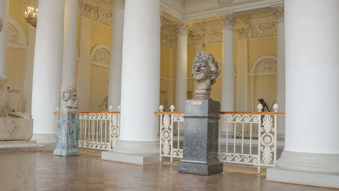 Principal staircase interior in Russian museum zoom out timelapse 4K Footage