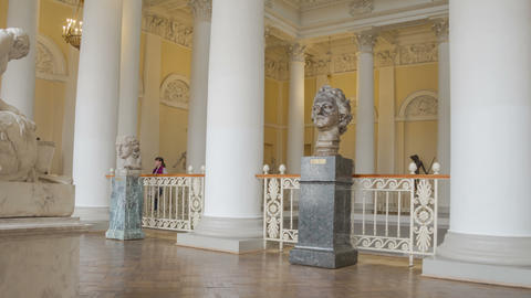 Principal staircase interior in Russian museum zoom out... Stock Video Footage