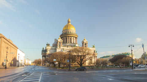 Saint Isaac's Cathedral and Monument to Alexander II motion timelapse 4K Footage