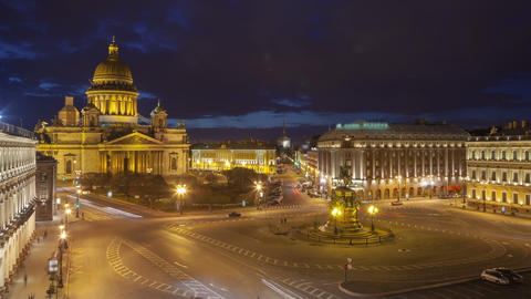 Saint Isaac's Cathedral place night timelapse view from the roof 4K Footage