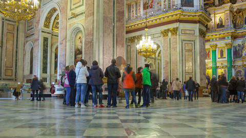 Saint Isaac's Cathedral interior zoom out timelapse 4K in St Petersburg, Russia Footage