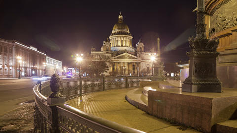 Saint Isaac's Cathedral Monument to Alexander II night motion timelapse 4K Footage