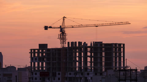 Sunset Construction Crane Time Lapse (4k) stock footage