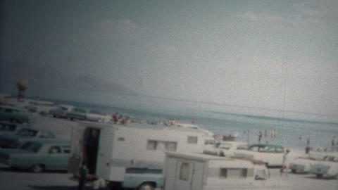(8mm Vintage) 1966 Silver Sands Beach Great Salt Lake, Utah, USA Footage