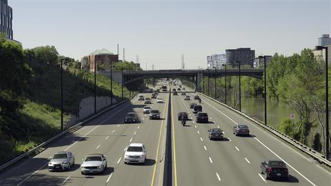 Daytime Highway Commute. 4K UHD stock footage