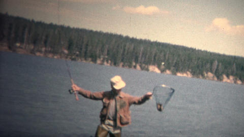(8mm Vintage) 1968 Man Catching Fish Waders Colorado Footage