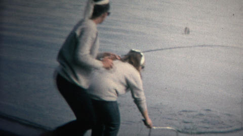 (8mm Vintage) 1968 Mom Daughter Catching Freshwater Fish Colorado Footage