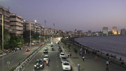 Vehicle Traffic in evening at Marine Drive the Queen's necklace,with new LED day Footage