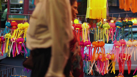 Mumbai India, October 17, 2014: Traditional Lanterns On Street Side Shop On The  stock footage
