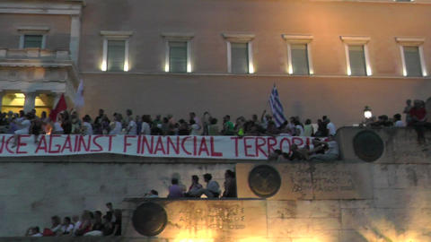 Protest Demonstration Against Austerity And Financial Crisis stock footage