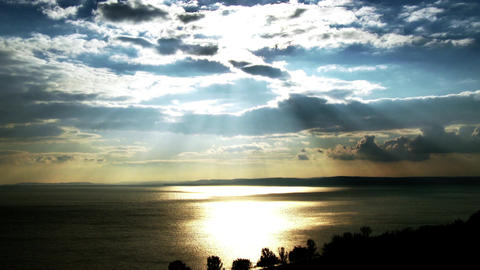 4K Amazing Landscape View Of A Godray Sunset Over Lake 1 stock footage