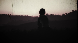 4K Young Women Sitting on a Hilltop in a Summer Sunset Sunrise 3D Animation 14 v Footage