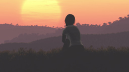4K Young Women Sitting on a Hilltop in a Summer Sunset Sunrise 3D Animation 6 fl Footage