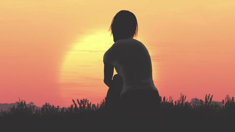 Young Women Sitting on a Hilltop in a Summer Sunset Sunrise 3D Animation 33 flat Footage