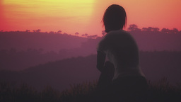 Young Women Sitting on a Hilltop in a Summer Sunset Sunrise 3D Animation 41 styl Footage
