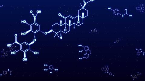 chemica formula Blue glow CG動画素材
