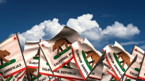 Waving California State Flags Animation
