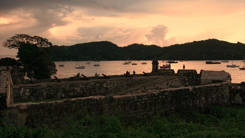 Portobelo Panama Fort Fuerte Santiago and artillery cannons Footage