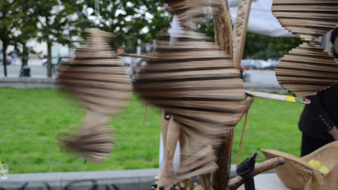 handmade craft spin toys decor souvenir sale street fair market Footage
