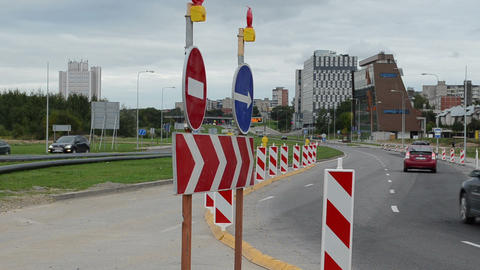 direction road signs end roundabout road construction car go Footage