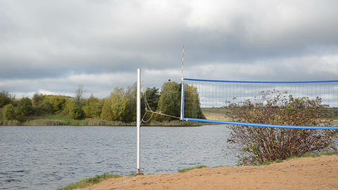 Volleyball Net Lake Shore Autumn stock footage