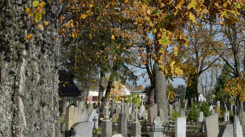 old rural cemetery memorial beautiful autumn season Footage