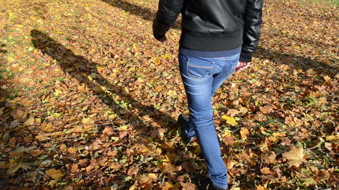 sexy girl woman blue jeans walk autumn leaves floor forest park Footage