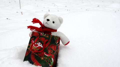 White Plush Teddy Bear Christmas Gift Present Bag Snow stock footage
