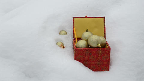christmas toys retro colorful box fall winter snow Footage
