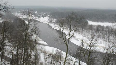 neris river flow floe downhill park private house Footage