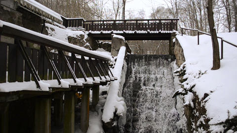 old water mill house creek flow cascade snow winter Footage